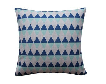 "Blue Aqua Triangles Pillow Cover, Geometric Cushion, Decorative Pillow Cover Cushion Cover Kids Room Throw Pillow 18"" 20"" 106"