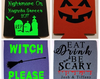 Custom Halloween Can Holder Can Coolie for Birthday, Wedding, Bachelorette, Bachelor Party, Party