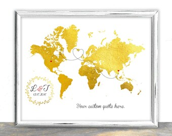 Golden world map etsy gold map wedding guest book map golden custom map custom map gift gumiabroncs Image collections