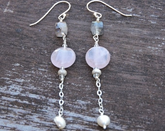Super 7 Quartz,  and Freshwater Pearl Drop Beaded Sterling Silver Earrings
