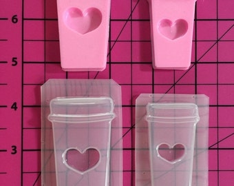 ON SALE Love coffee cup flexible plastic resin mold set ~ 2 cavity
