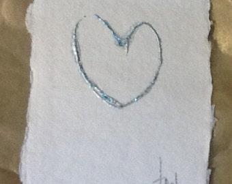 Original handmade note let cards glitter hearts