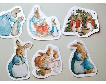BEATRIX MIX #1 - Mother Rabbit Mix of 6 - Cutout characters - Beatrix Potter Characters - A la Carte Peter Rabbit Party Items