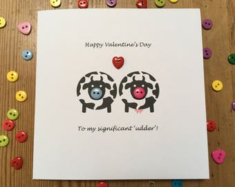 Funny Valentine Card - To My Significant Udder - Valentine's Day Card - Button - Cow Card - Paper Handmade Greeting Card - Romantic Card