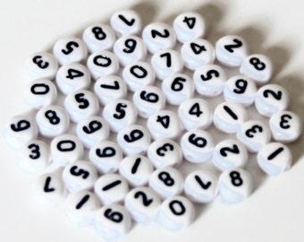 50 Anzahl Perlen 7mm rund - Kind Kontakt Telefon Nr. - Beads für Anhänger - Armband Schmuck - Ergebnisse Uk - B10