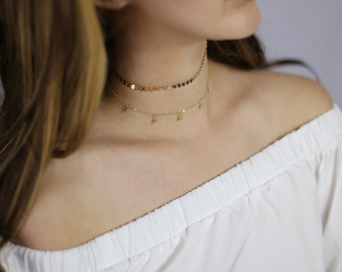 Coin Tattoo Choker & Mini Ball Dangle Choker Necklace Set