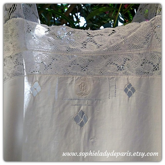 Antique White Cotton Slip Lace Trim Monogram French Handmade Medium Collectible #sophieladydeparis