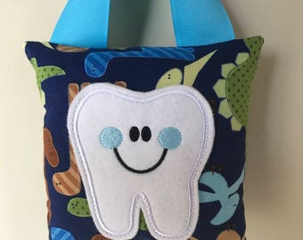 Tooth Fairy Pillow - Dinosaur Pillow with Blue Ribbon - Kids Pillow - Kids Gift