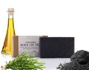 Black Tea Tree with activated Charcoal Handmade Soap Bar 4oz. Organic Soap