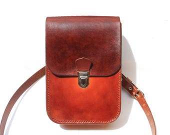 bag, satchel Brown gradient leather removable shoulder strap