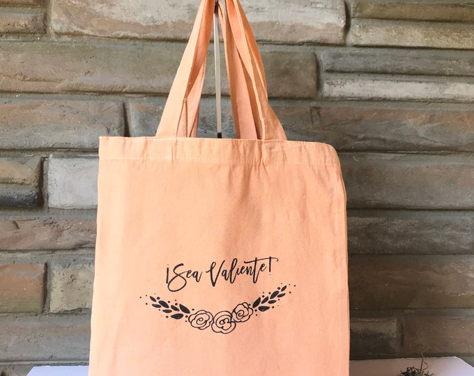 Sea Valiente! Natural Cotton Tote Limited Edition  Colors -Canteloupe