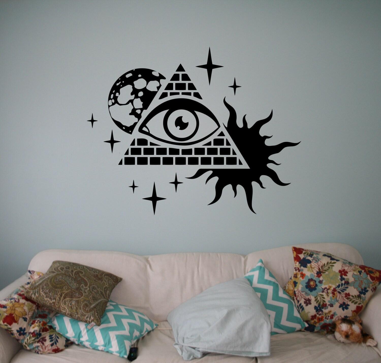 Illuminati symbols wall decal all seeing eye vinyl sticker zoom biocorpaavc Choice Image