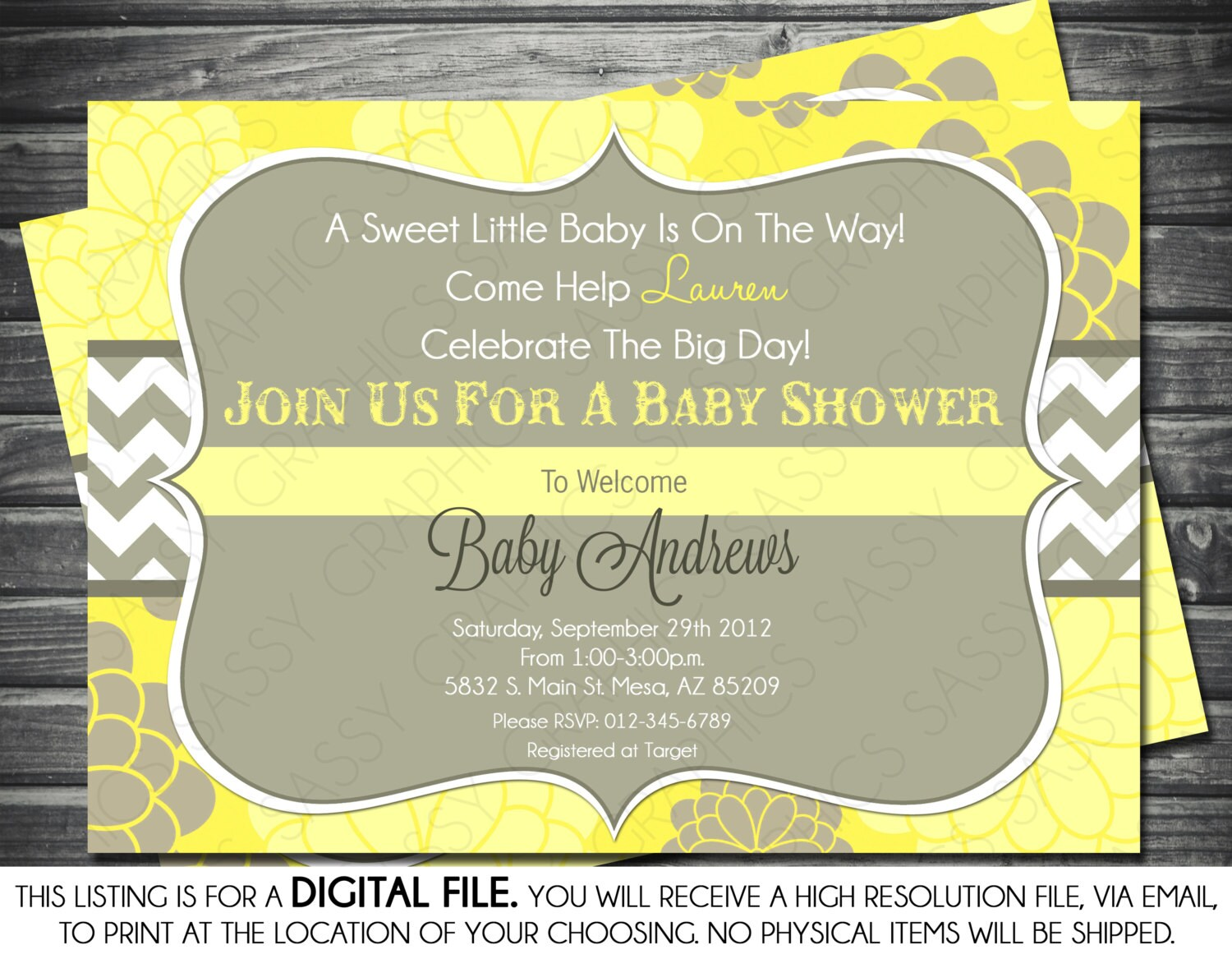 Gender Neutral Baby Shower Invitation Modern Yellow Floral