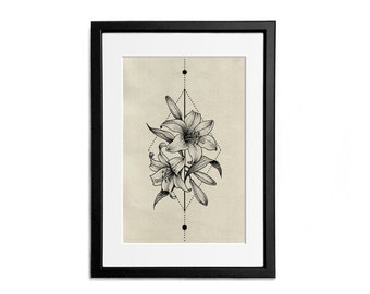 Lilies Print illustration Flowers A4 Poster Wall Decor Naturalistic Illustration