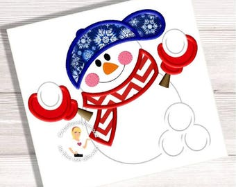 Snowball Snowman Embroidery Applique - 3 Sizes - Instant EMAIL With Download - for Embroidery Machines