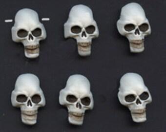 6 Polymer White Skull beads  Side Drilled SKB 6