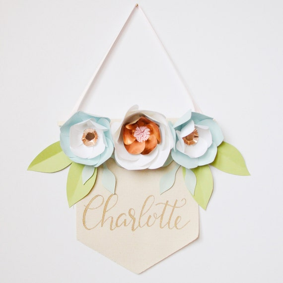 paper flower banner personalized hand lettering shower