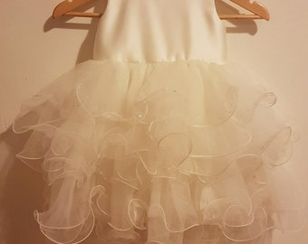 Ivory Ruffle Tulle and Sequin Tutu Flower Girl Dress