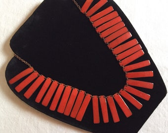 Stunning Mid-Century Red Enameled Copper Necklace