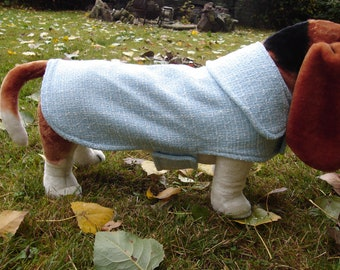 Dog Jacket - Sky Blue Tweed Dog Coat- Size Medium- 16-18 Inch Back Length - Or Custom Size
