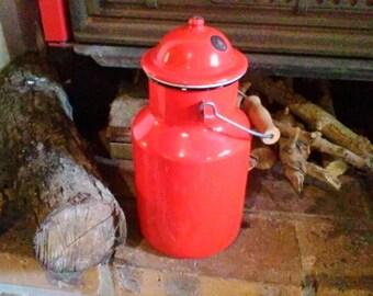 Red enamel milk pot - French vintage enamelware