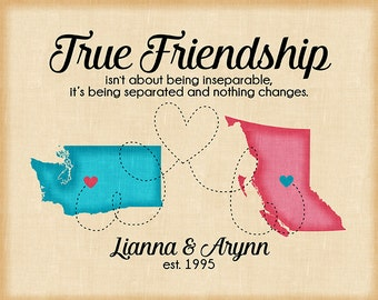 True Friendship Quote, Long Distance Friend Maps, Moving to Another State, New Address, Gift for Best Friend Birthday, Blue and Pink | WF332