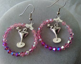 Martini Glass Swarovski Crystal Hoop Earrings