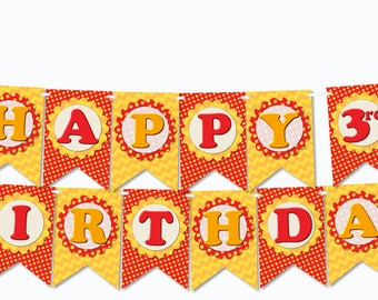 Printable Firetruck Birthday Banner FULL LETTER SET and Happy Birthday - diy, pdf, Instant Download