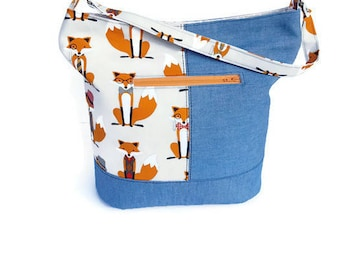Ready to Ship Handmade Bucket Bag - Handmade Tote - Zippered Tote - Foxes and Denim Tote Bag - Fox and Denim Bucket Bag
