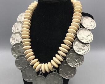 Handmade Buffalo Nickel Pendant & Stone Bead Necklace