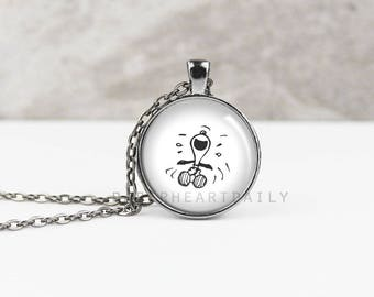 Snoopy Laughing Necklace - Snoopy Jewelry - Snoopy Gift - Snoopy Charm - Charlie Brown - Peanuts Gang Pendant -  (B9515)