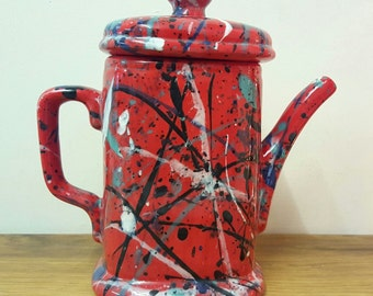 Coffee Pot Funky Splatter Ceramic Pour Over Ceramic Coffee Pot Hand Painted Customised Personalised Gift