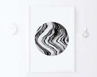 Marble Print-Black and White Scandinavian Poster-Abstract Circle Art Print-DIGITAL PRINT Dorm Poster Printable Wall Art Printable Dorm Decor