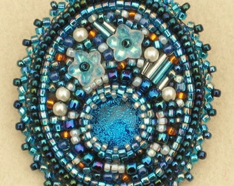 Bead Embroidered Brooch/Pin with Glass Beads - Turquoise and Orange