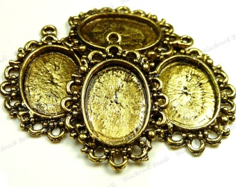 Antique Gold Tone Vintage Style Cabochon Settings - 10pcs - Oval Cabs, 16x12mm Inset Tray, Blanks, Bezel Trays - BG25