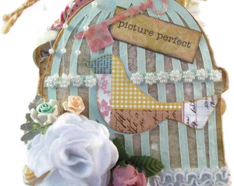 Birdcage Chipboard Mini Album Lace, Ribbon, Flowers, Pockets,Tags 5 Pages