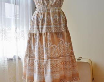 70s cotton tan and cream sun dress