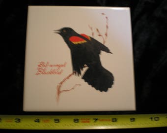 Vintage 1970s Bird Tile - Redwing Blackbird    Can be sold Individually