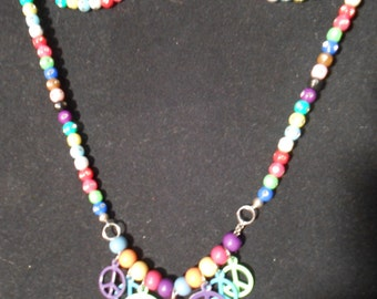 Colorful Peace Necklace with acrylic beads with rhinestones