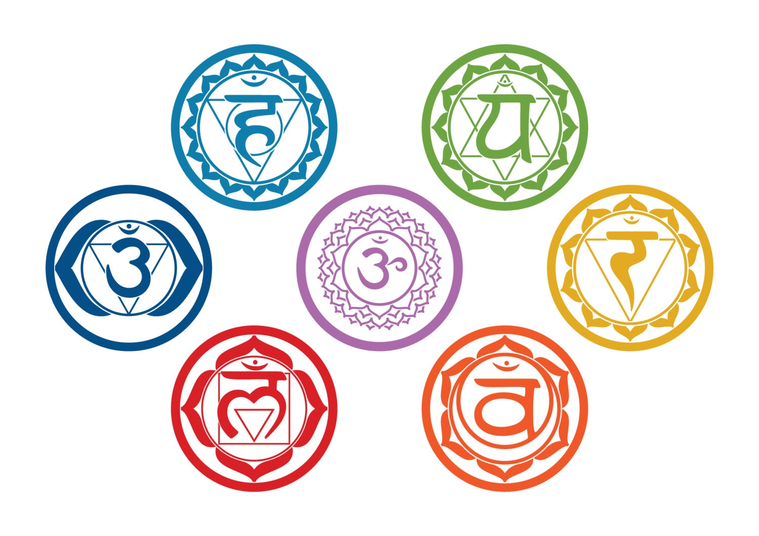 Chakras vinyl stickers set of 7 big colored cut out stickers zoom buycottarizona Image collections