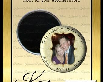 "Photo Wedding Favors, 2.25"" Custom Wedding Favors Magnet, Married My Best Friend Wedding Favor, Wedding Keepsake, Refrigerator Magnet"