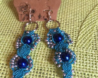 Blue and silver dangling earrings