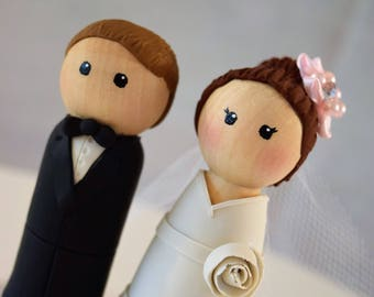 Wedding cake topper, peg people, peg bride and groom, cake topper, custom cake topper