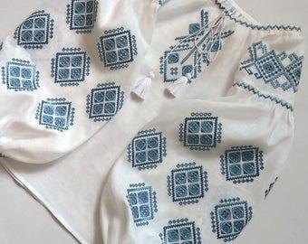 "White blouse vyshyvanka ""Ornament"" of 100% linen Ukrainian vyshyvanka blouse Ukrainian clothing embroidered shirt  boho blouse CutWork"