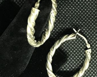 Sterling Silver 925 Braided Oval Hoop Earrings