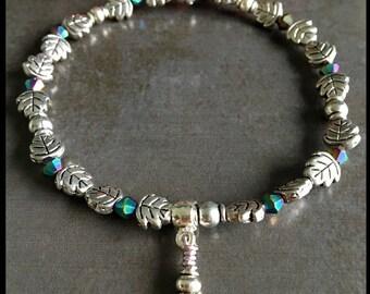 Stretch bracelet, with leaf charm, womens bracelet, boho, stackable, valentines present, gift for her, ladies bracelet,