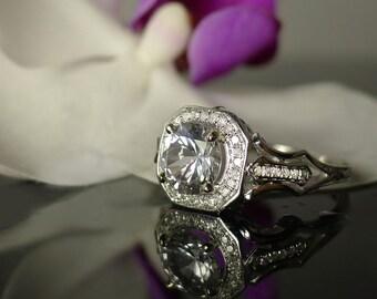 Herkimer Diamond Engagement Ring, 14K White Gold, Diamond Accents, Art Deco Style Ring