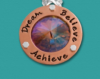 Dream Believe Achieve - Hand Stamped Copper and Swarovski Crystal Necklace - Motivational Agility Jewelry - Inspirational - Dog Agility
