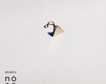 Triangle brass nose stud | tricone nose pin | minimal nose stud | Nose piercing |body jewellery - Nose Jewelry