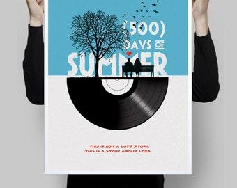 Alternative minimalist 500 days of summer movie poster print movie cinema wall art home decor geek print